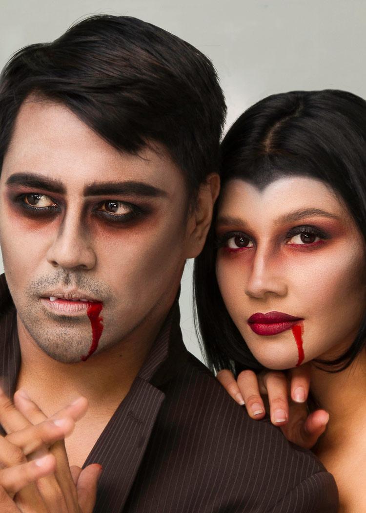 Vampiress couple portrait